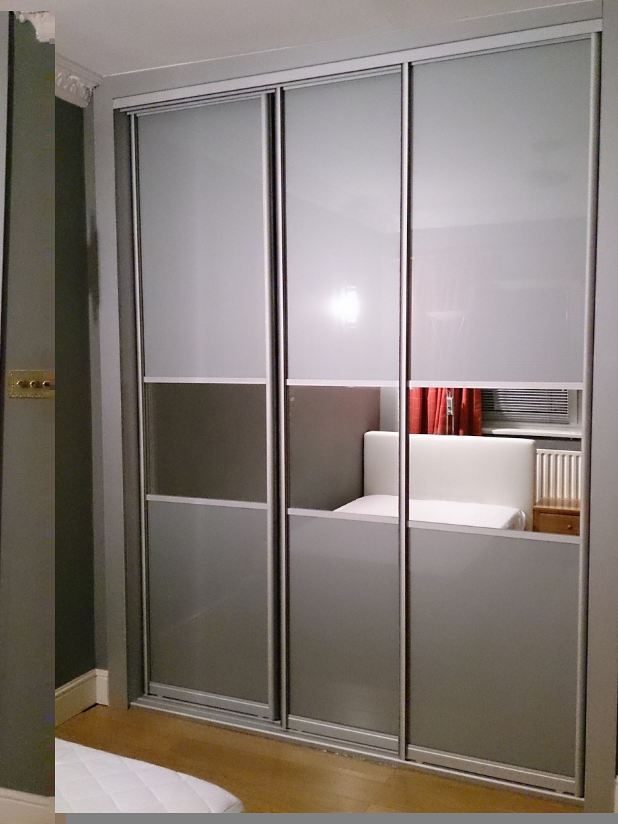 Sliding Door Closet With Grey Glass Sliding Wardrobes London